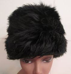 Vintage 70s Black  Tuscan Lamb Fur hat by MISSVINTAGE5000 on Etsy, $40.00