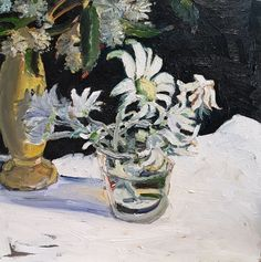 Jane Guthleben, Flannel Flowers, 2017, Oil on Board, 40 x 40 cm, .M Contemporary, Art Gallery, 37 Ocean St, Woollahra, NSW, enquire at gallery@mcontemp.com