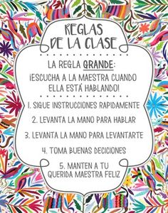 This is a beautiful poster that can be used to display in your Spanish classroom to outline your class rules! The Mexican Otomi themed background will definitely stand out and help to make your Spanish classroom unique. These rules are the Spanish version of the Whole Brain Teaching rules.