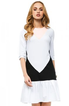 Makadamia M218 sukienka biały-pudrowy róż Przepiękna sukienka
