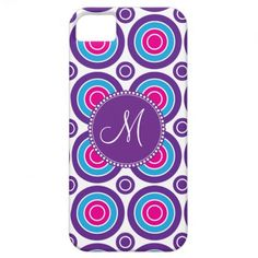 Personalized Monogram Pink Purple Circle Pattern iPhone 5 Covers