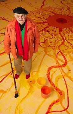 John Henry Olsen (Australian: - Artist John Olsen stands with his latest completed artwork in his Robertson studio Australian Painting, Australian Artists, Process Art, Art Studios, Artist At Work, Art Images, Art Lessons, Cool Art, Street Art