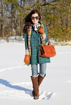 Vintage jacket, sweater by Tory Burch, jeans by Citizens of Humanity, bag by Frank Clegg, boots by Dubarry. (February 16, 2014)