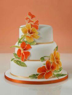 Alan Dunn Sugarcraft - nasturtium cake in honor of his Grandmother 2016 trend plaque flowers
