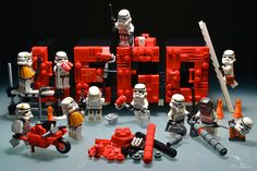 "So that's how the ""Lego"" sign was built ! Lego Star Wars, Legos, Lego Stormtrooper, Starwars Lego, All Lego, Lego Figures, Action Figures, Lego Worlds, Lego Photography"