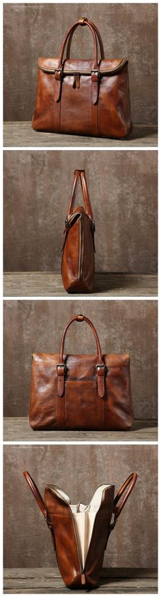 Handmade Vintage Top Grain Leather Briefcase 14'' Leather Laptop Bag Men's Fashion Business Bag GR02 Overview: Design: Men's Leather Briefcase In Stock: 3-5 days For Making Custom: No Color: Vintage B