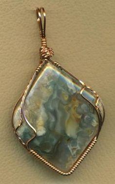Tahoma Jasper Copper Wire Wrap Pendant by angelique