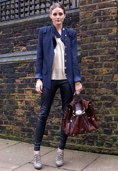 blue and bordeaux and leather leggings/pants
