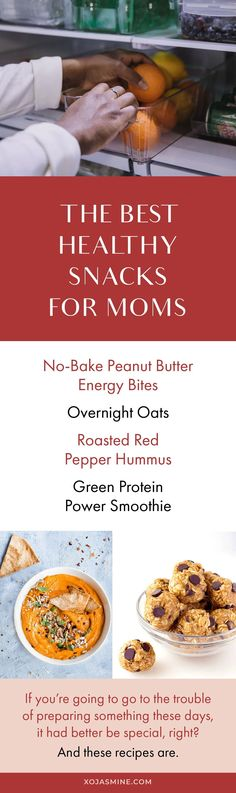 It's so important to have a few go to healthy snacks for moms. Yes, we truly need our own category of healthy snacks. When you're a busy mom, your snacks have some heavy lifting to do. They have to be fast, easy, tasty, and healthy.Every parent can benefit from having a stable of go-to snacks like these basics: low-fat or nonfat string cheese, Greek yogurt, cottage cheese, hummus, black bean dip, and whole-grain crackers. Healthy Snack Options, Healthy Meals For Kids, Healthy Snacks For Kids, Healthy Fats, Kids Meals, Healthy Eating, Kid Recipes, Whole 30 Recipes, Real Food Recipes