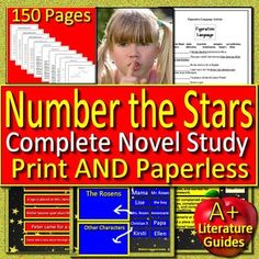 Digital Resource - Number the Stars, a 200 page/slide Common-Core aligned Complete Literature Guide for the novel by Lois Lowry. It can be used with or without Google Drive. This novel study teaching unit has everything that you will need to teach and assess the novel.