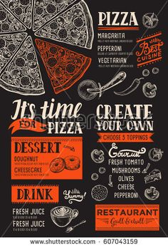 Pizza food menu for restaurant and cafe. Design template with hand-drawn graphic elements in doodle style. Creative and modern food menu templates for your restaurant business.  More #food #menu for your #restaurant you can download here ➝ http://www.shutterstock.com/g/Marchie?rid=1166783