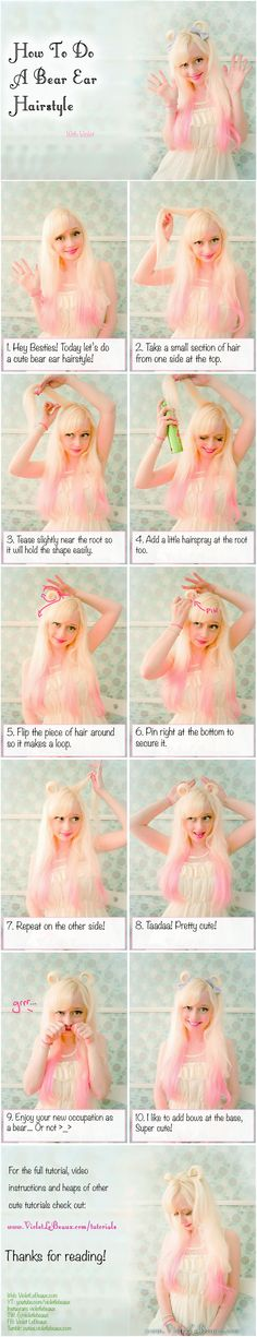 Bear Ears Hair Style Tutorial by VioletLeBeaux.deviantart.com on @DeviantArt