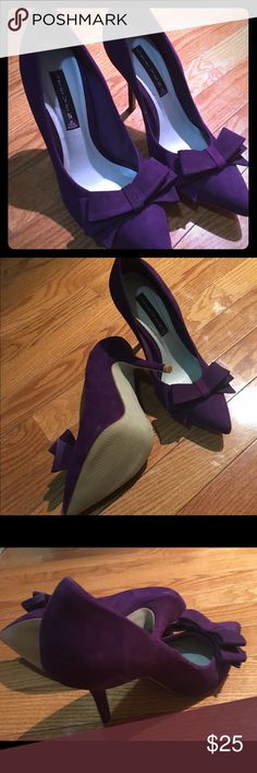 "Steven Purple 3"" heels 👠 Worn once, purple suede 3"" heels. Point toe with bow detail. Steven by Steve Madden Shoes Heels"