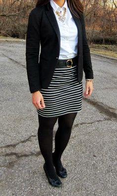 work outfit: black blazer, white button up shirt, striped skirt