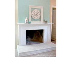 Facelift for the Fireplace.  Love the painted brick and trim around the brick base to add a little depth and class.