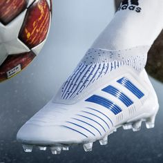The adidas Virtuso Pack features bold bright flashes accented against crisp white and will be on pitch ready to put on a show in the UCL's final stages, along with the final games of domestic seasons. Womens Soccer Cleats, Adidas Soccer Shoes, Adidas Boots, Soccer Gear, Soccer Boots, Soccer Shop, Soccer Equipment, Adidas Football, Football Shoes