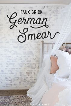 German Smear/ German Schmear Faux Brick Wall Add vintage charm to your home with an easy DIY German schmear treatment on a faux brick wall- German smear adds character to any room and is so fun in this little girl's room . Faux Brick Wall Panels, Brick Wall Paneling, Brick Accent Walls, White Brick Walls, Brick Flooring, Fake Brick Wall, This Little Girl, Little Girl Rooms, German Schmear