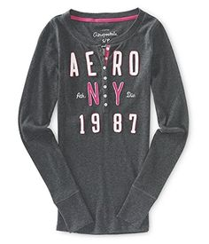 Aeropostale Womens Ny Thermal Henley Shirt