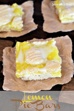 Lemon Pie Bars - Rich, delicious almond flavored crust with a creamy, dreamy lemon layer between the crust! via www.julieseatsandtreats.com