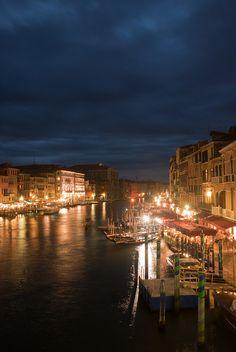 View from Rialto Bridge at night.  Venice, Italy