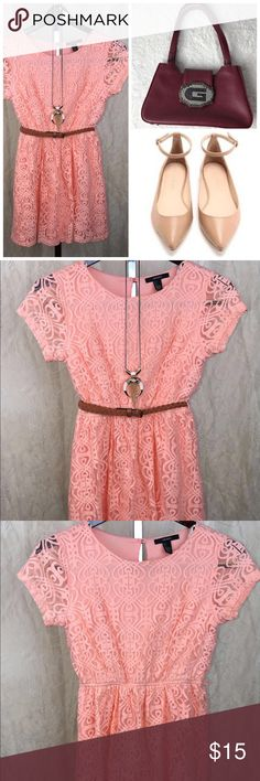 ✨BOGO FREE SALE✨Forever 21 lacy peach dress✨ 💕pretty peach dress💕in size L from Forever 21, belt not included! ALL MEASUREMENTS ARE LISTED BELOW✨✨ Forever 21 Dresses