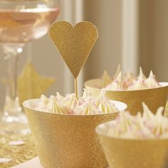Ginger Ray Gold Sparkle Glitter Wedding Party Heart Cupcake Topper Decorations