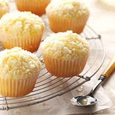 Lemon Crumb Muffins Recipe | Taste of Home Lemon Desserts, Lemon Recipes, Baking Recipes, Dessert Recipes, Sweet Recipes, Bread Recipes, Taste Of Home, Cupcakes, Cupcake Cakes