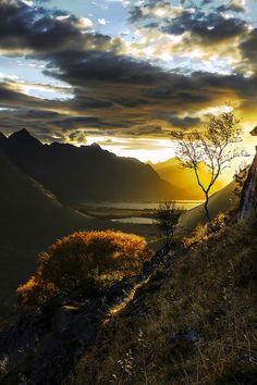 sunset clouds sky landscape autumn