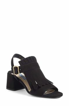 Prada Fringe Block Heel Sandal (Women)