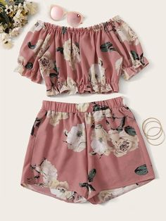 Floral Print Frill Trim Top With Shorts Cute Lazy Outfits, Crop Top Outfits, Swag Outfits, Girly Outfits, Pretty Outfits, Baby Outfits, Grunge Outfits, Girls Fashion Clothes, Summer Fashion Outfits