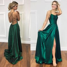 Simple Dark Green Halter Satin Prom Dress with Split Side,Long Backless Evening Gowns,Formal Dress - - Simple Dark Green Halter Satin Prom Dress with Split Side,Long Backless Evening Gowns,Formal Dress Source by storenvy Dark Green Prom Dresses, Pretty Prom Dresses, Emerald Green Dress Prom, Dark Green Long Dress, Simple Formal Dresses, Green Homecoming Dresses, Simple Gowns, Emerald Green Dresses, Formal Dresses For Weddings
