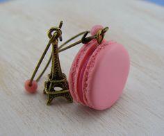 Parisian Rose Macaron Earrings by shayaaron on Etsy, $16.50