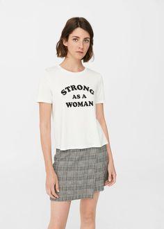 Camiseta fluida mensaje   MANGO