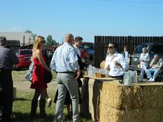 The outside bar made of hay bales.