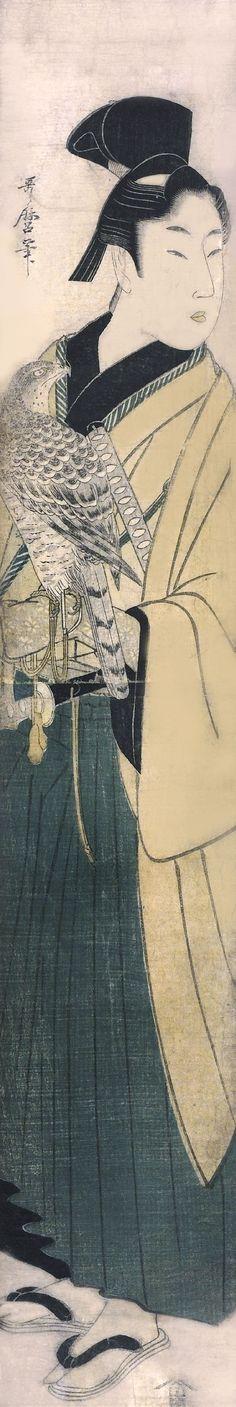 Utamaro Kitigawa / Junger mann mit Falken
