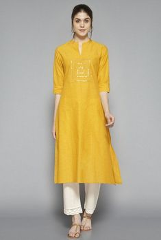 8622dbad95b Buy Utsa by Westside Yellow Embellished Kurta for Women Online   Tata CLiQ