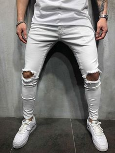 ripped jeans Destroyed-Hole-Pants-Trousers >> Check this amazing product by going to the link at the picture. (This is an affiliate ) Slim Fit Joggers, Slim Pants, Men Pants, White Joggers Mens, Street Style Outfits Men, Street Styles, Fashion Pants, Mens Fashion, Street Fashion