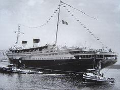 Rex docking in Genoa, spring of 1940
