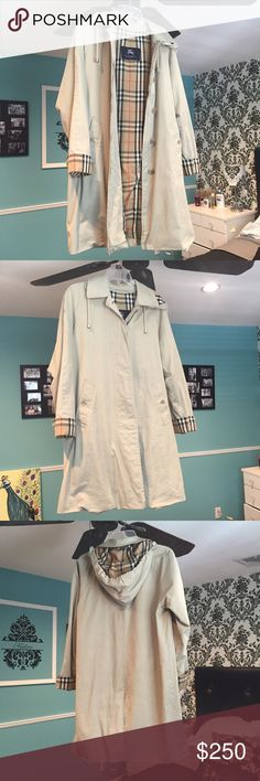 AUTHENTIC Burberry Jacket LIKE NEW NO SIGN OF USE AUTHENTIC Burberry raincoat size 4! This jacket is beautiful and like new! Only worn a few times, I'm selling because I am buying a size 2, the 4 is too big for me. Priced low for a quick sale, make offers! Originally paid $800, removable hood, buttons on firm, no stains at all! Burberry Jackets & Coats
