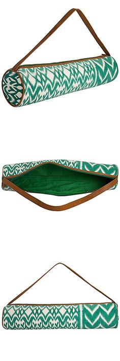 JaipurSe Green and White cotton Ikat Print fabric Light Weight Travel Yoga Mat Bag with zipper closure and Faux Leather Strap