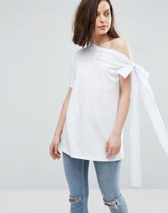 ASOS T-Shirt With Off Shoulder Bow Detail