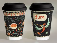 Design and illustration for a take-away coffee cup for Cavistons Dublin by Steve Simpson Cool Packaging, Coffee Packaging, Brand Packaging, Packaging Design, Coffee Branding, Product Packaging, Packaging Ideas, Coffee Cup Design, Mug Design