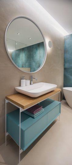 Design-Forward City Apartment Mixes Materials and Textures City Apartment, Apartment Design, Bathroom Trends, Bathroom Renovations, Contemporary Bathrooms, Modern Bathroom Design, Single Handle Bathroom Faucet, Pinterest Home, Cool Apartments