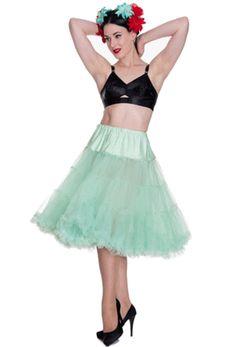 Layered Weiß Banned Vintage Rockabilly Swing Unterrock Tüllrock Petticoat