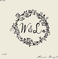 wedding stamps-Floral Frames rubber stamp -custom initial stamps -custom rubber stamp-wreath & Flower stamp-calligraghstamp-