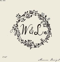 wedding stamps-Floral Frames rubber stamp custom by mancoostamp