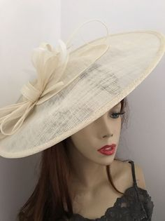 Details About Hatinator Cream Ivory Saucer Large Formal Las Wedding Hat Ascot Races