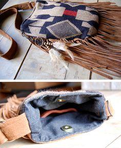Two sided navajo suede brown fringe bohemian navajo bag. Hoakon & Helga. etsy