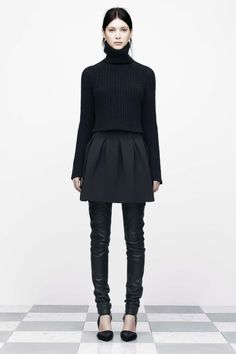 Alexander Wang f/12  Chunky Half Cardigan Cropped Turtleneck Neoprene Bonded Inverted Pleat Skirt Stretch Leather Jeans