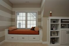 Trundle bed with seating above - this might be a good option for the landing area